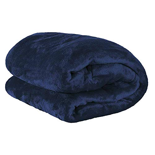 Cobertor Casal Manta Microfibra Azul Marinho - Paulo Cezar Enxovais