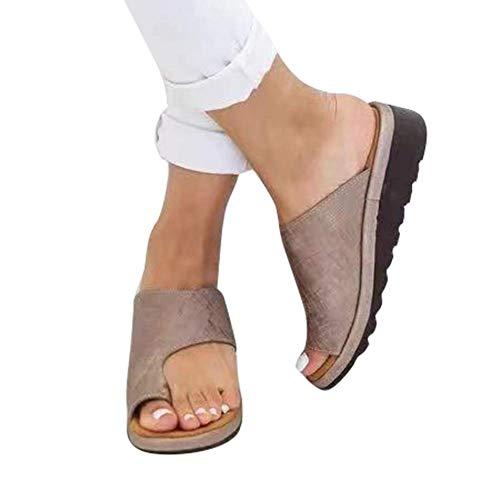 QBAMTX Damen Sandalen Big Toe Hallux Valgus, Bunion Splints Sommersandalen Flach Plattform Sandalen Unterstützung Schuhe für die Behandlung Strandsandalen Braun