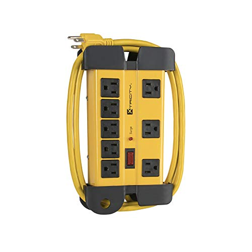 8-Outlet Heavy Duty Grounded Surge Protector Power Strip, 1200 Joules, 6 Foot Power Cord Extension, Wall Mountable, ETL Listed, Ideal for Construction or Workshops, Yellow