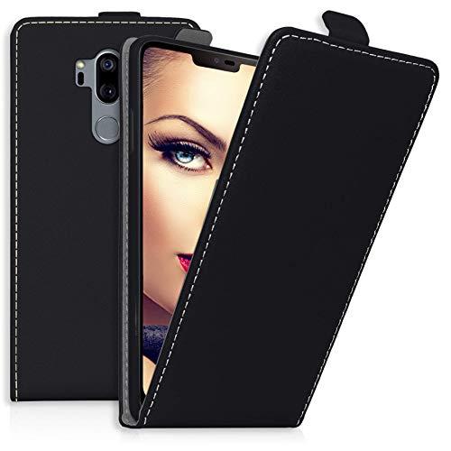 mtb more energy® Flip-Hülle Tasche für LG G7 ThinQ / G7+ (G710, 6.1'') - Schwarz - Kunstleder - Schutz-Tasche Cover Hülle