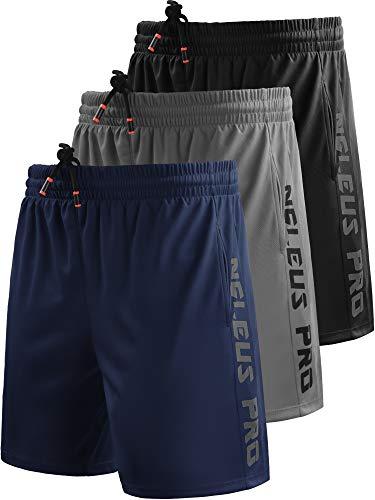 Neleus Men's 7' Workout Running Shorts with Pockets,6056,3 Pack,Black/Grey/Navy Blue,L,EU XL