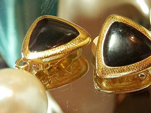 XX Showy Vintage 80's Anne Klein Black Enamel Faux Pearl Clip On Earrings PU-3991