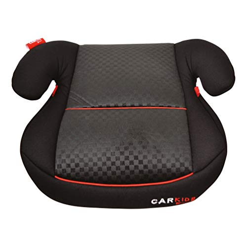 Carkids Auto-Kindersitzerhöhung Schwarz und Rot, Autokindersitz Gruppe 2-3, Kinder von 3,5-12 Jahre|15-36 kg