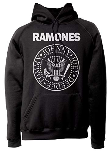 LaMAGLIERIA Unisex-Hoodie Ramones - Classic Logo White Print - Kapuzenpullover Punk Rock Band, XL, schwarz
