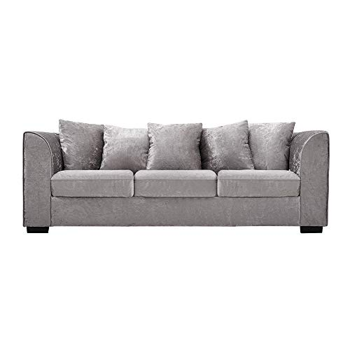 Panana 3 Seater Sofa Corner Sofa Mordern Crushed Velvet Sofa Settee Couch Compact Sofa Living Room Home Office Lounge, Silver