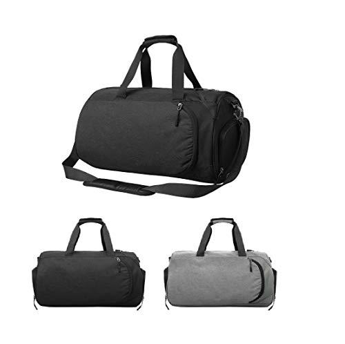 37L Large Capacity Sports Gym Travel Duffel Bag Shoulder Holdall Luggage,Includes Shoes Compartment Wet Pocket Adjustable Shoulder Strap, Waterproof Lightweight for Sport Yoga Training Travel (Grey)