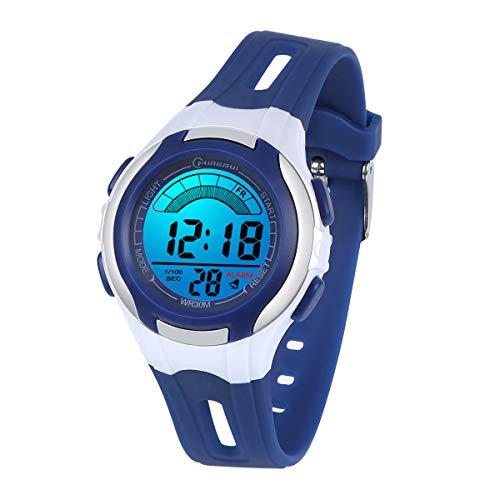 Kinderuhren Mädchen Jungen Digital,7 Farben LED Digital Armbanduhr für Kinder wasserdichte Sport Outdoor Multifunktionale digital Uhren mit Stoppuhr/Alarm Alter 4-15(Navyblau)