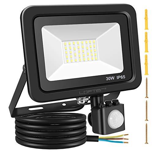 LOFTer 30W LED Strahler mit Bewegungsmelder 2400LM 6000K Aussenstrahler IP65 Wasserdicht PIR Aussenlampe Flutlicht für Garten Garage Eingängen Sportplatz