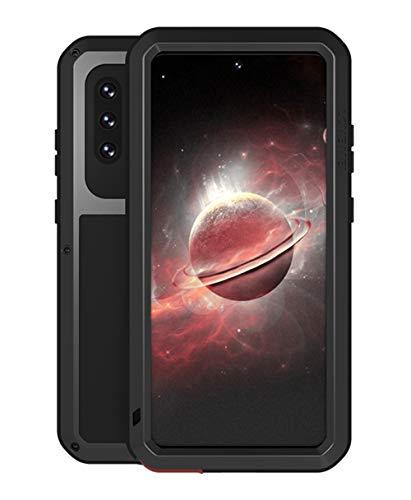 Aliwisdom para Samsung Galaxy A32 5G Funda, Love Mei al Aire Libre Heavy Duty Metal Estuche Protectora A Prueba de Golpes a Prueba de Polvo con 9H Protector Pantalla de Cristal Templado (Negro)