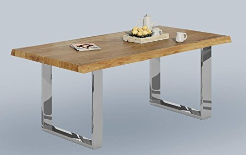 Baumkantentisch Wildeiche massiv geölt 160x100 cm mit Metallfüßen in Edelstahloptik