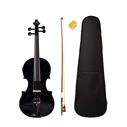 THQC 4/4 Vollgröße Violine Geigenklang und elektrische Violine Massivholz Körper Ebenholz Zubehör Hohe Qualität Schwarz Electric Geige (Farbe : Schwarz)