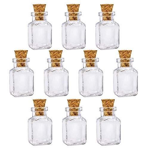 10 mini frascos de cristal de forma cuadrada con tapones de corcho, botellas de aceite esencial para perfume, botellas de deseo, collar decorativo, 2,5 x 2,2 cm
