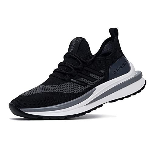 Entrenadores Hombres Zapatillas de Deporte, Ligth Peso al Aire Libre Zapatos Deportivos Casual Respirable Malla Fitness Atlético Zapatos,Negro,44