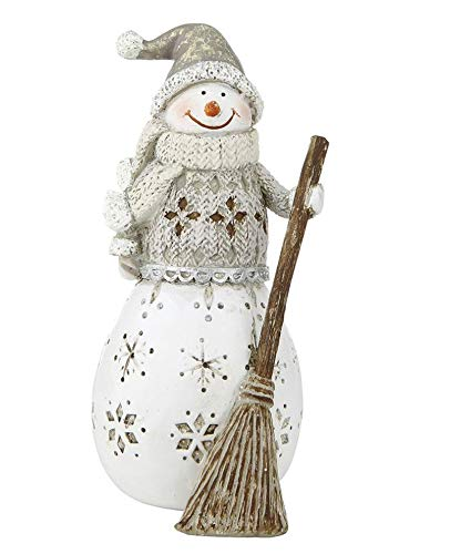 Rostalgie Kunstharz Schneemann mit Besen 14 x 6 cm Dekoration Winter Weihnachten Advent