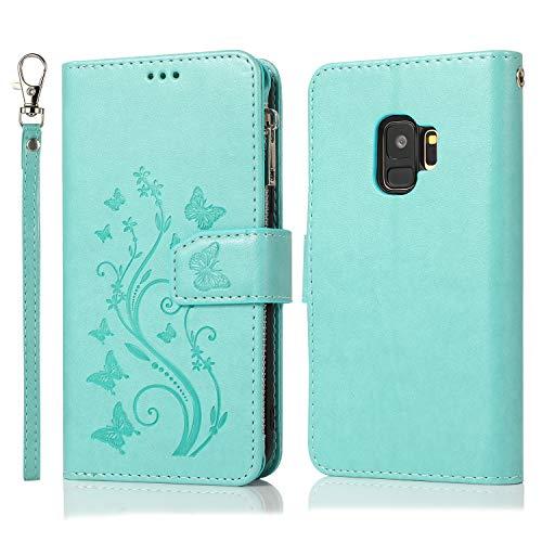 Nadoli Hülle Reißverschluss für Samsung Galaxy S9,Retro Brieftasche Handytasche Pu Leder Schutzhülle mit Stand Kartenhalter Schutz Klappbörse mit Blumen Schmetterling Entwurf