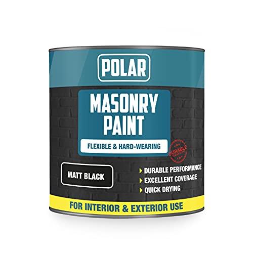 Polar Masonry Emulsion Paint for Multi-Purpose Use 500ml, Matt Black for Interior and Exterior Walls...