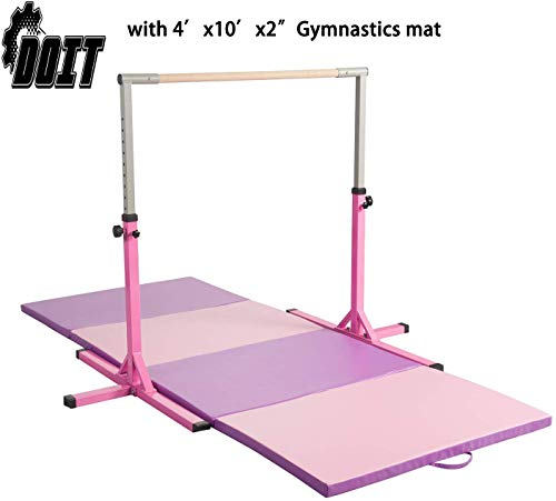 DOIT Adjustable Gymnastics Horizontal Bars/Fitness Gymnastics Training Kip Bar- Height Adjustable for Home for Kids&Junior&Adult(Choose Gymnastics mat to Combine)