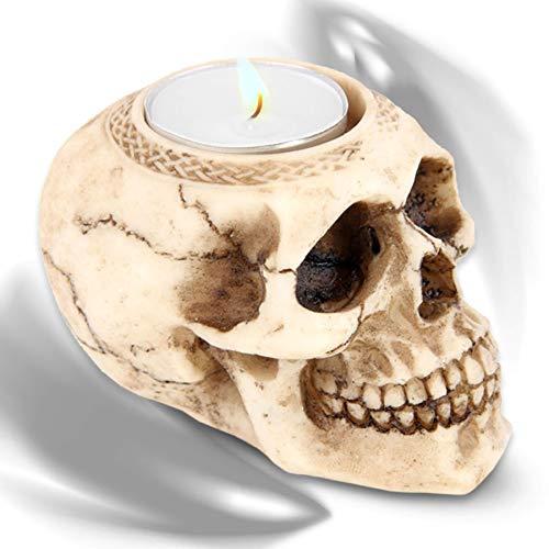 mtb more energy Deko Teelichthalter ''Hot Thoughts'' - Totenkopf Kerzenhalter - Höhe 6.5 cm - Totenschädel Figur Gothic Dekoration