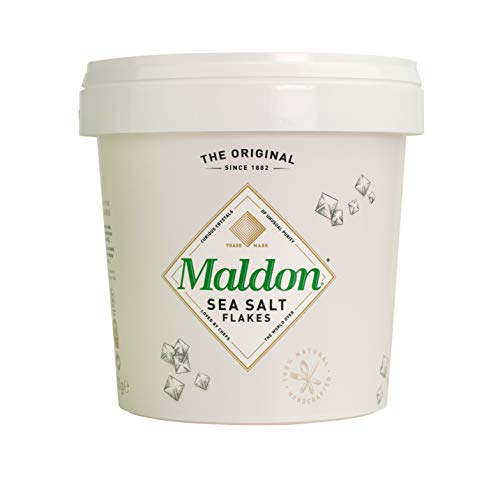 Maldon Salt, Sea Salt Flakes, 20 oz (570 g), 6 Count, Resealable Tub, Kosher, Natural, Handcrafted, Gourmet, Pyramid Crystals