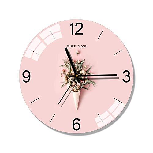 XMBT Reloj de Cocina Dormitorio Reloj de Pared Redondo,Reloj de Pared con Pilas Interior Elegante Reloj sin tictac Relojes de Pared silenciosos Relojes Digitales de cabecera Reloj de Pared