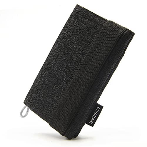GUGGIARI® Slim Wallet mit RFID Schutz für Kreditkarten-, Bargeld- und Schlüsselhalter - Kartenetui Herren - Schlanke Geldbörse Damen - Portemonnaie - Kreditkartenetui. (Mikrofaser, Black - Sablé)