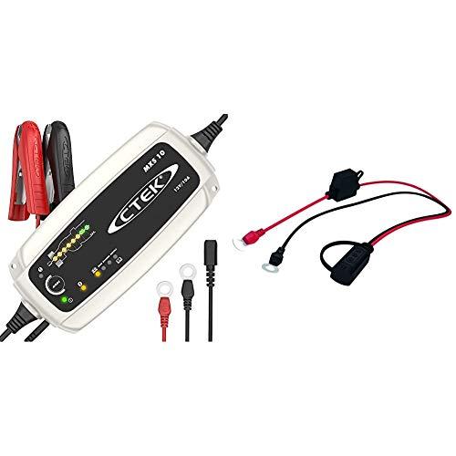 CTEK MXS 10 - Vollautomatisches Batterieladegerät (Grundladung, Erneuerung) 12V, 10 A - EU Stecker & Indicator Eyelet Batterieladegeräte der CT5 Serie, LED Anzeigelämpchen Zeigen Ladezustand