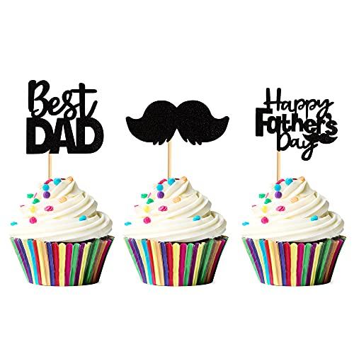 Blumomon 24 Stück Happy Father's Day Cupcake-Topper, schwarzer Glitzer, Papa-Kuchenaufsätze, Schnurrbart, Papier-Kuchenspieße, Vatertagsparty-Zubehör