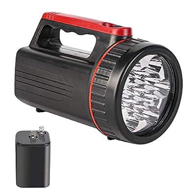 Outdoor Spot Lights Hand-Held Flashlight,280 Lumens Light Bright Long Distance LED Spotlight Searchlight,6 Volt Lantern Battery Powered Lights ?13LED ?Black?