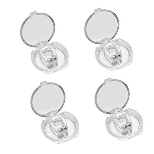 Dispositivo antirronquidos Magnético Clip de nariz antirronquidos Silicona actualizada Detener dispositivos de ronquido Sleeping Aid Relieve Ronquido para Hombres Mujeres (4 pcs)