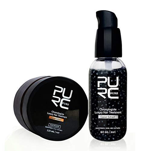 Wheey El Tratamiento del Pelo Fijados Extracto De Caviar Hacer Que El Pelo Más Suave Y Tersa Care Set Productos para El Cabello Pelo Recuperar Daños Raíz del Pelo Tonic 1 Set (60 Ml 120 Ml)