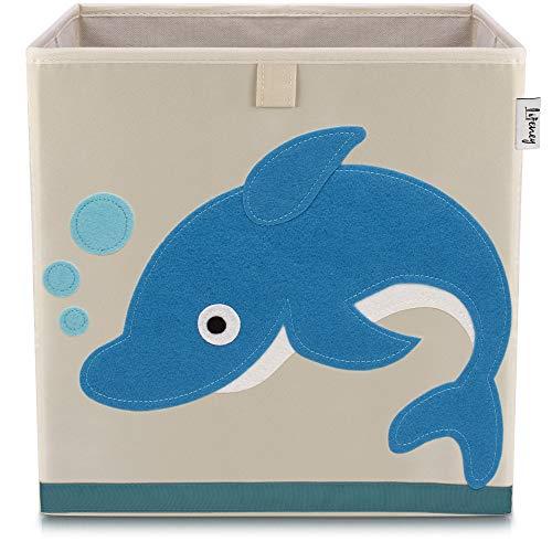 Lifeney Kinder Aufbewahrungsbox I praktische Aufbewahrungsbox für jedes Kinderzimmer I Kinder Spielkiste I Niedliche Spielzeugbox I Korb zur Aufbewahrung von Kinder Spielsachen (Delfin hell)
