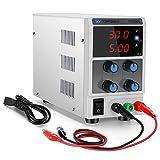 Alimentatore da Banco,Display LED a 3 cifre 30V / 5A, Alimentatore da laboratorio stabilizzato Alimentatore da banco CC variabile Fornito con spina EU