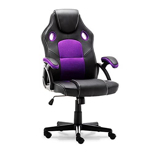 Silla para videojuegos, respaldo alto, ergonómica, con reposacabezas y soporte lumbar, silla de escritorio para el hogar o la oficina, ajustable, malla de piel sintética, silla de ordenador (morado)