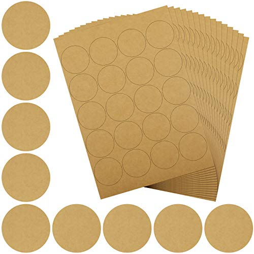 28 Sheets Brown Kraft Paper Sticker Brown Kraft Blank Round Circle Labels (5 cm/ 1.97 inch)