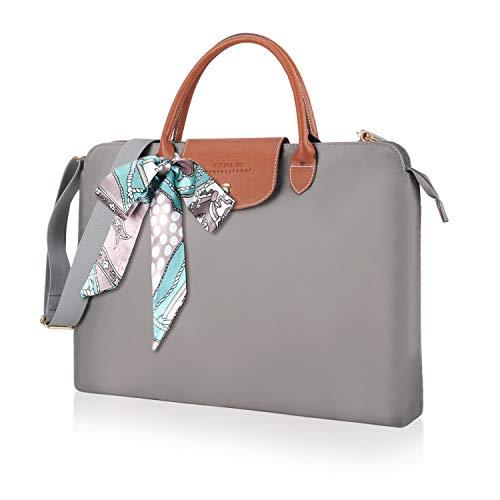 Kamlui Laptop Bag 15.6 Inch for Women Canvas Waterproof Computer Shoulder Messenger Female Laptop Sleeve Case for Macbook Pro Air HP Dell, (Gray)