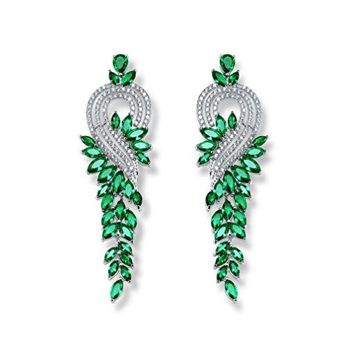 YAZILIND mujeres piedras austríaca elegante elegante racimo candelabro largo agua gota boda colgante pendientes verdes