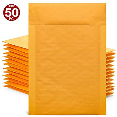 GSSUSA Yellow Kraft Bubble Mailers 4x8 Padded Envelopes #000 Shipping Envelopes Bubble Mailers Self Sealing Padded Envelope 50Pack