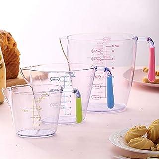 STARPIA 3 Piezas Jarras Medidores, 200ml 400ml 900ml Recipiente de Cocina para Medir Cantidades, Jarra Medidor Plástico Transparente para Casa Cocina