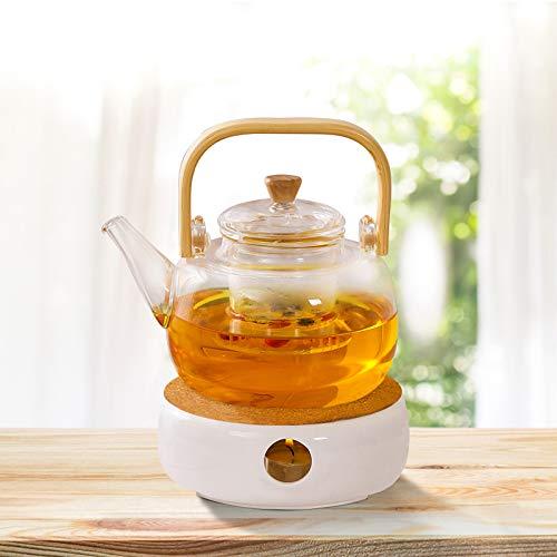 Surmounty Stövchen Teekanne Wärmer, Keramik Teewärmer Kaffeewärmer mit Korkständer, Nicht inkl. Teelicht und Teekanne