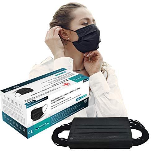 50 Medizinische OP-Maske Schwarz CE Zertifiziert für Medizin, Typ II Normen EN 14683:2019 Hohe Filtereffizienz BFE≥98 - Chirurgische Mundschutz Maske, Gesichtsmaske 3 Schichten Elastikband [50 Stück]