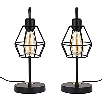 Falflor Industrial Table Lamp for Bedroom Set of 2 Dimmable Rustic Nightstand Lamp Farmhouse Vintage Table Lamp for Shelf Guest Room(Black)