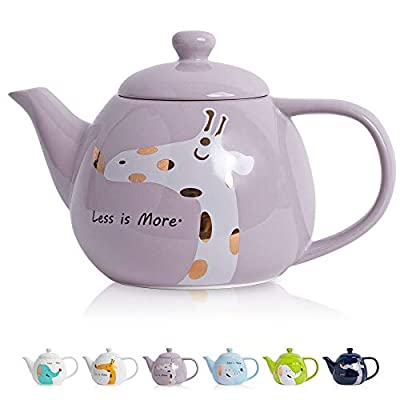 ThaiGEX Teapot, Porcelain Tea Pot with Stainless Steel Infuser, Blooming and Loose Leaf Ceramic Teapot (30 OZ / 900 ML), Purple Giraffe