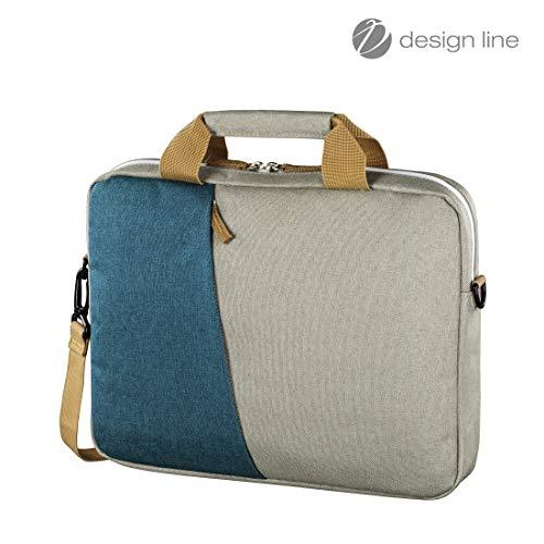 Hama Laptoptasche 40 cm, 15,6 Zoll (gepolsterte Umhängetasche mit Tragegurt und Handgriff, Schultertasche für Damen und Herren, Aktentasche mit Platz für Zubehör) grau, türkis