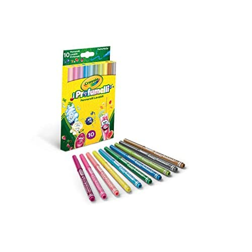Crayola-I Profumelli Pennarelli Lavabili e Profumati per Bambini a Punta Media, per Scuola e Tempo Libero, 10 Colori, Pezzi, 58-5071
