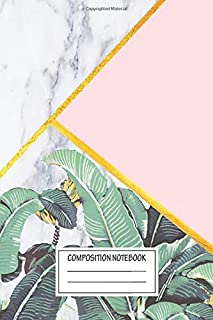 Notebook: Marble Banana Leaves Pink , Journal for Writing, Size 6