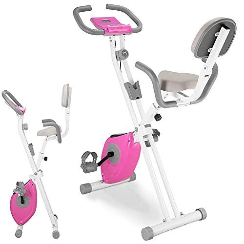 BAKAJI Bicicleta estática plegable para entrenamiento de fitness, cardio, piernas, cadera, bicicleta, spinning, asiento con respaldo acolchado ajustable, pantalla LCD, estructura de acero inoxidable
