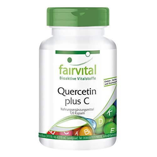 Quercetin Kapseln mit Vitamin C - HOCHDOSIERT - 250mg Quercetin plus 300mg Vitamin C pro Kapsel - VEGAN - 120 Kapseln - Antioxidans