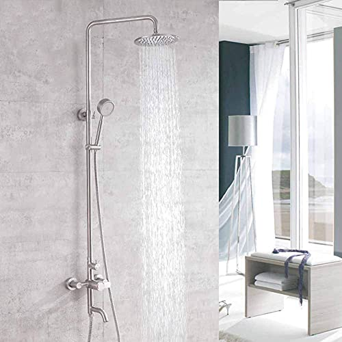 Sistema de ducha del termostato, batidora de ducha de baño con ducha de mano Sistema de ducha de montaje de pared de ducha de baño Conjunto de mezclador de ducha de baño Montaje en la pared Cromo Term