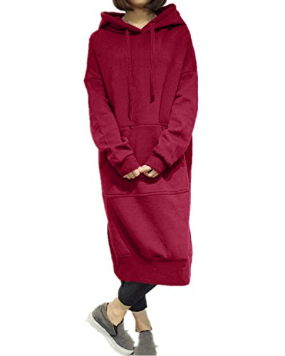 Style Dome Sudadera con Capucha para Mujer Largas Tallas Grandes Jersey Manga Larga Vestidos Sudadera Pullover Invierno Hoodie 001-Vino Tinto 6227 XXL