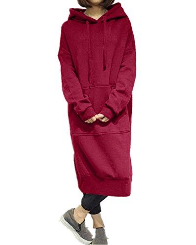 StyleDome Robe Longue Large Manches Longues Casual Hoodie Hauts Sweatshirt Pullover Tops Haut (EU 46, Bordeaux)